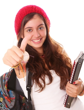 positivism: Happy teenager with an expression of positivism and ready for school Stock Photo