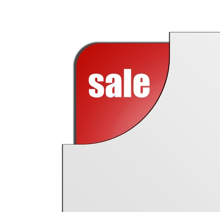White folder with a red leaf inside with the word sale photo