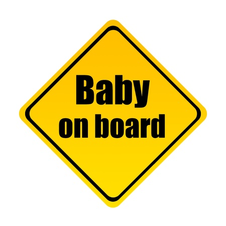 Road sign indicating baby on board over white background photo
