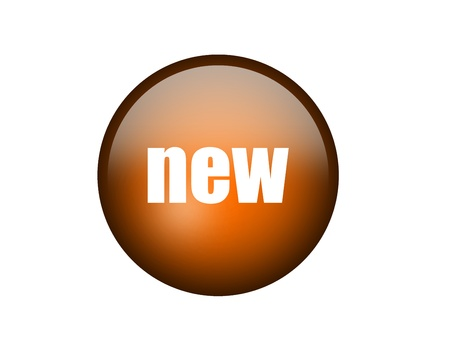 Orange and circle new button over white background Stock Photo - 9591821