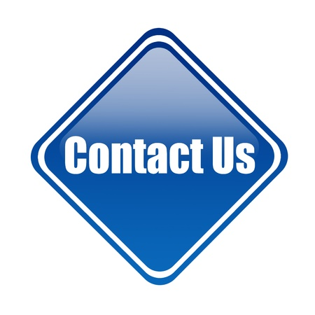 Blue informative signal of contact us over white background Stock Photo - 9591814