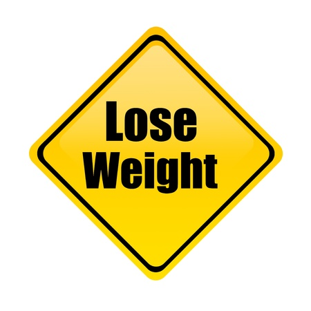 losing weight: Yellow signal of road advertising  weight loss over white background Stock Photo