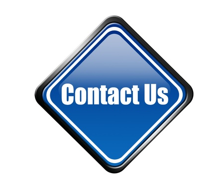 correspond: blue signal contact us in diamond shape over white background