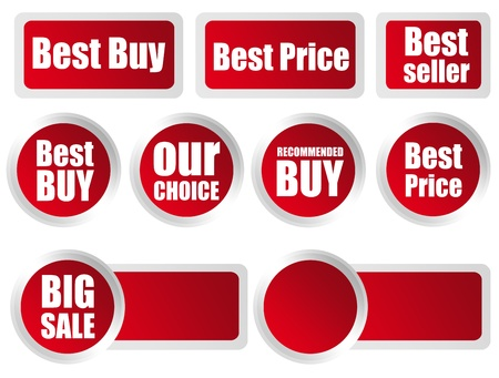 best seller: several red labels with different commercial information inside Stock Photo