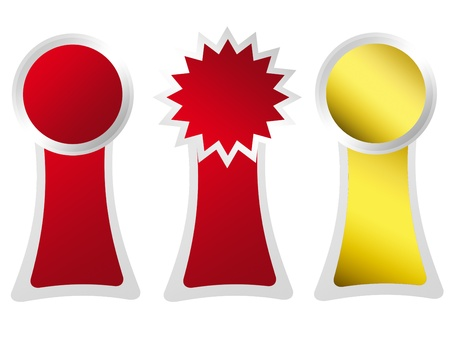 Awards ceremony three labels of red and yellow over white background Stock Photo - 9591827