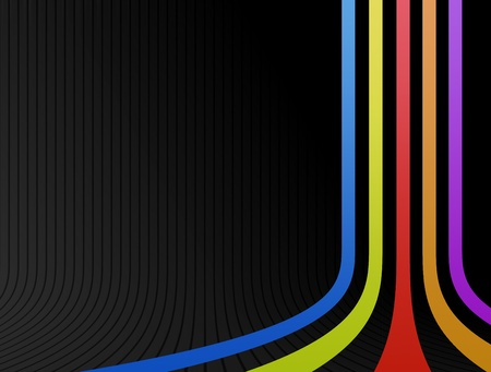 Blue, yellow,red,orange and purple lines over black background Stock Photo - 9591828