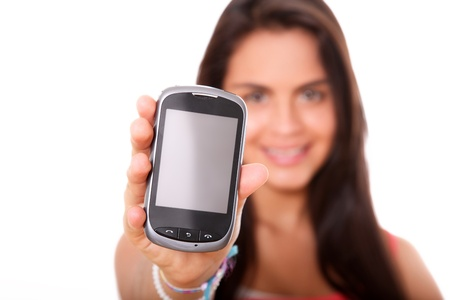 young woman with mobile phone over white background Stock Photo - 10002581