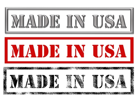 made in: metallic, red and black made in usa over white background.illustration Stock Photo