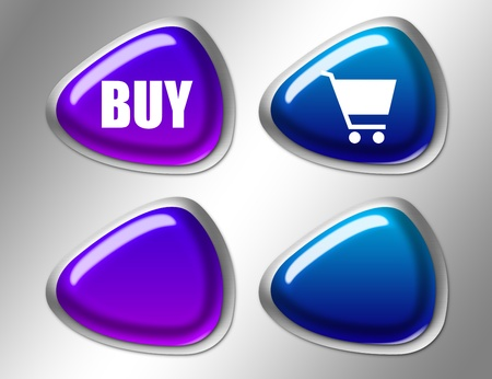 blue and violet buy sign with silver edge over gray background Stock Photo - 9667403