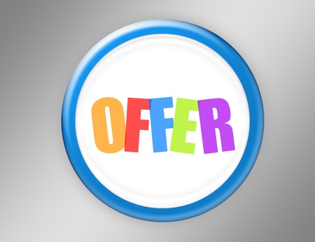 white and blue offer button over gray background Stock Photo - 9666871