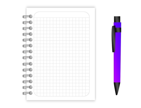 blank Binder rings grid with violet pen over white background photo