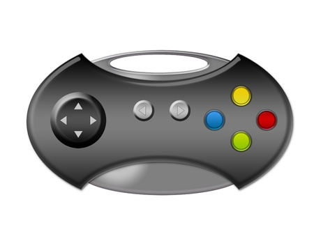 joy pad: gray game pad with buttons over white background.illustration