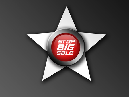 red stop big sale icon with metallic edge and star over dark background  Stock Photo - 9667024
