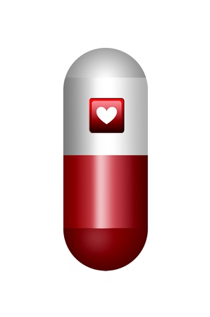 red and white pill isolated with heart over white background  Stock Photo - 9666802