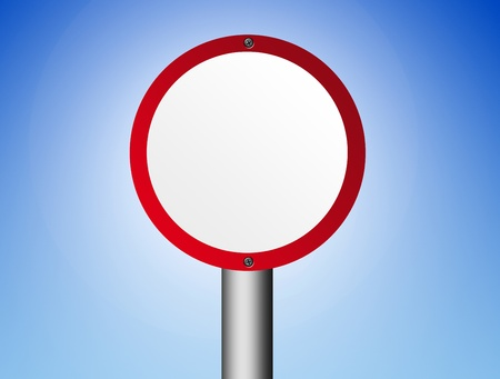 red and white blank sign over blue background Stock Photo - 9667040