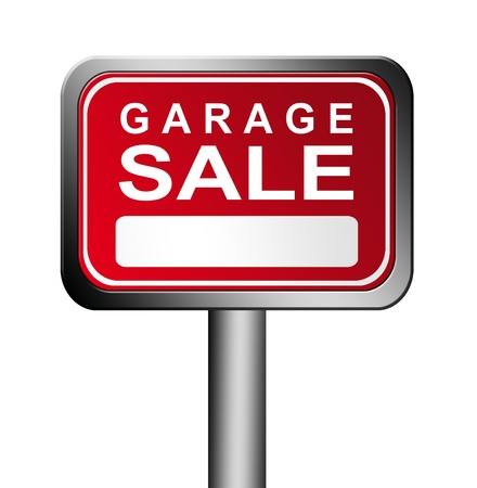 red and white garage sale sign over white background photo