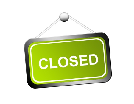 shopsign: green and white closed sign with metallic edge over white background
