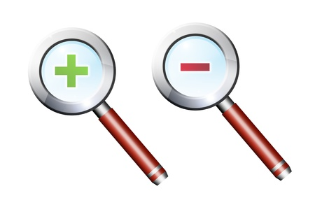magnifying glass with more and less sign over white background Stock Photo - 9666810