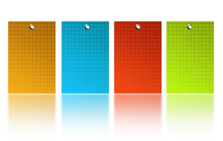 isolated on a white background: yellow, blue, red and green squares over wihite back ground   Stock Photo