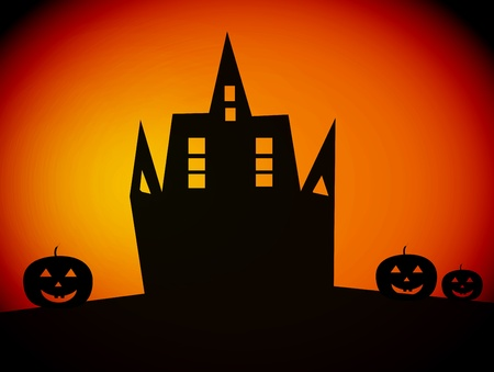 black castle  with three  pumpkins, over orange  background photo