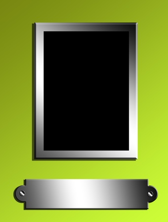 silver picture frame: black rectangle  over green background. chrome frame