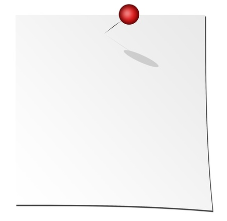 white paper over white background with red pin Stock Photo - 9666817