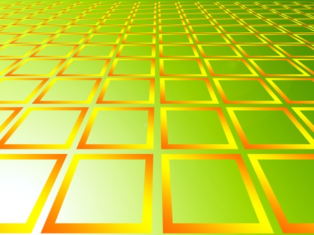 yellow squares over green background. abstract illustration  illustration