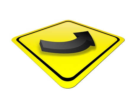 yellow signal  with black arrow. isolated illustration Stock Illustration - 9666837