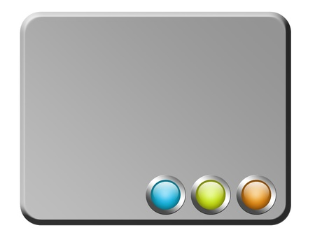 chrome  board with  three color buttons. abstract illustration illustration