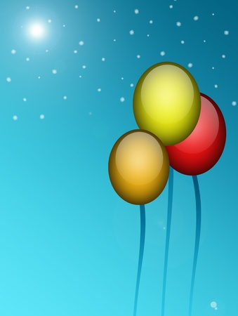 Green, red, and yellow, balloons over sky background Stock Photo - 9667020