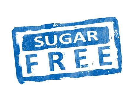 Blue sugar free stamp over white background. Illustration
