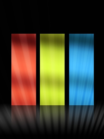 red, green and blue squares over black background Stock Photo - 9667007