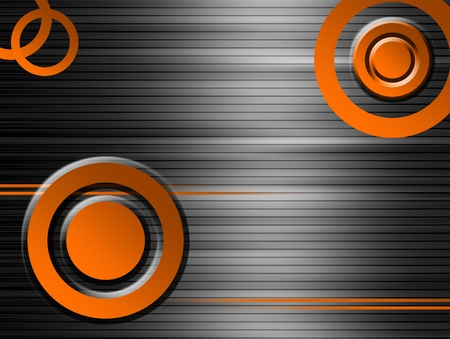Orange shapes over chrome lines background, Modern and futuristic background  Stock Photo - 9667302