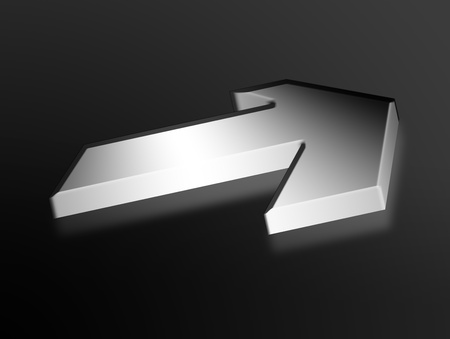 Chrome arrow over black background. Sign Illustration illustration