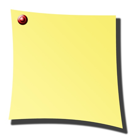 yellow paper over white background with red pin photo