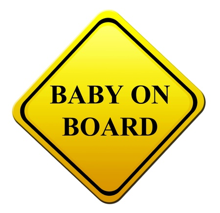 dissuade: yellow signal of baby on board. isolated image