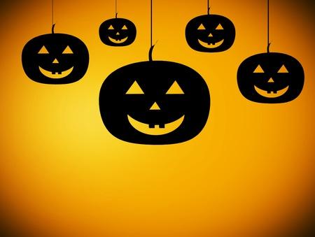 five black pumpkins over orange background. halloween illustration illustration