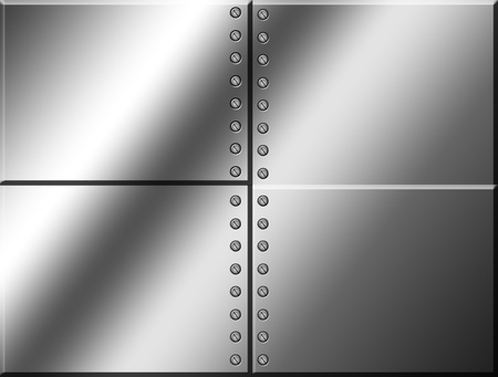 steel plate: four chrome squares with many screw.  blank illustration Stock Photo