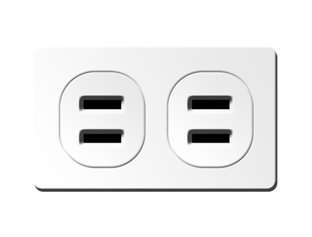 Black and  white plug in  icon over white  background  Stock Photo - 9667310