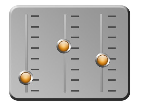 chrome  board with  three orange buttons. isolated illustration Stock Illustration - 9667091