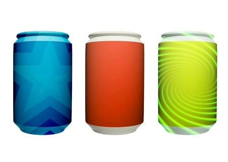 Three cans of colors, green, orange and blue on a white background photo