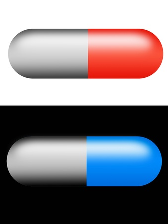 Gray, red and blue capsules on black and white background Stock Photo - 9667088