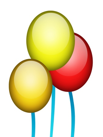 Green, red, and yellow, balloons over white background Stock Photo - 9667083
