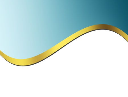 curve line: Blue and gold waves over white background