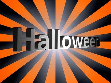 Halloween text over orange and black background photo