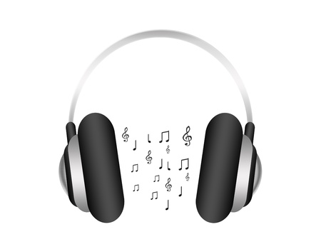speaker phone: gray headphone with notes musicals isolated over white background