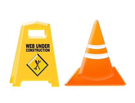 yellow, black and orange under construction set isolated over white background Stock Photo - 9692853