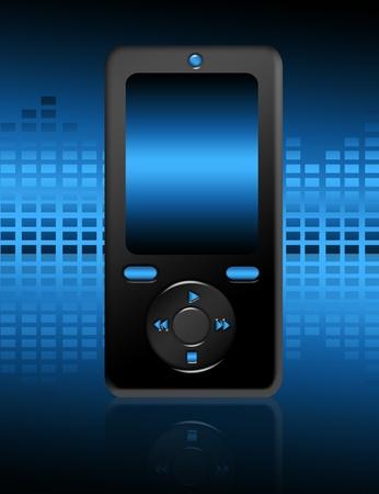 black and blue cellphone over blue background.illustration Stock Illustration - 9692941