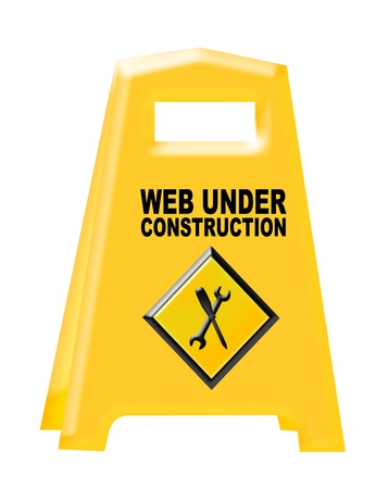 yellow and black web under construction sign isolated over white background photo