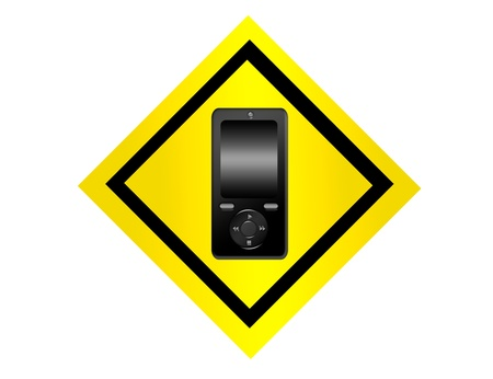 yellow and black cellphone sign isolated over white background Stock Photo - 9692860